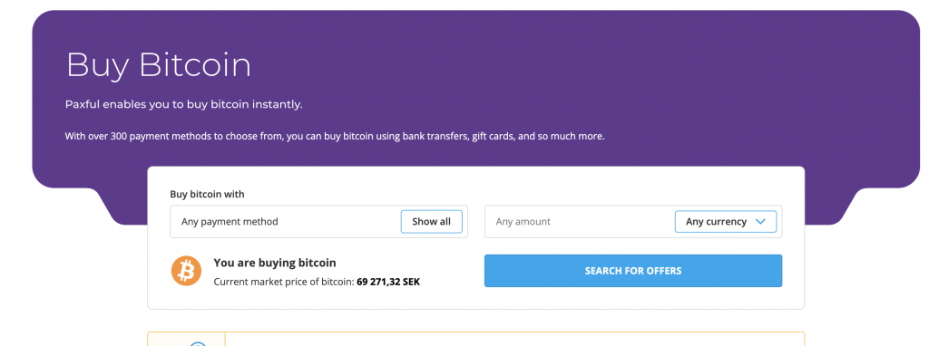 Buy Bitcoin instantly using Paxful