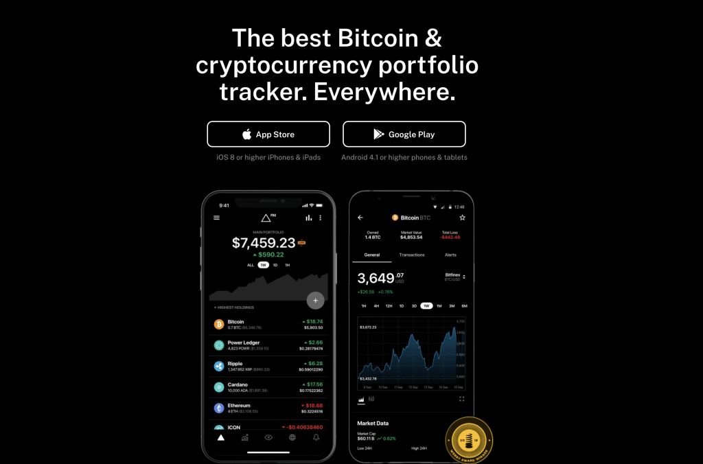 Delta Bitcoin and cryptocurrency portfolio tracker tool