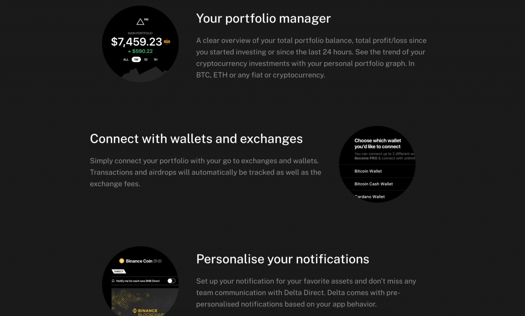 Crypto portfolio manager and integration features of Delta