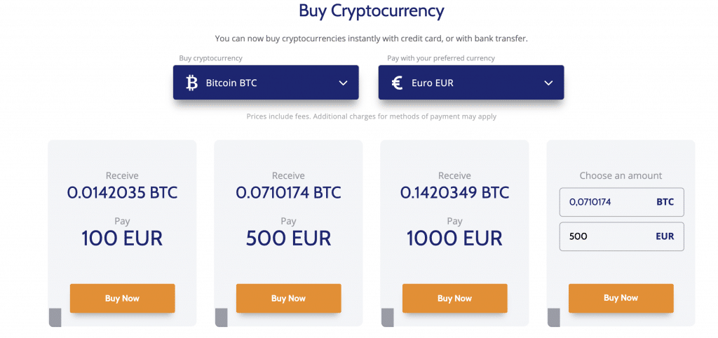 Buy Bitcoin at Coinmama with a credit / debit card