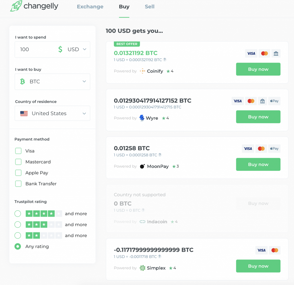 Options to choose from at Changelly when buying Bitcoin with a card