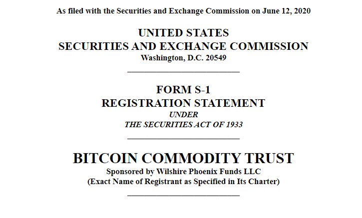 bitcoin commodity trust fund filing