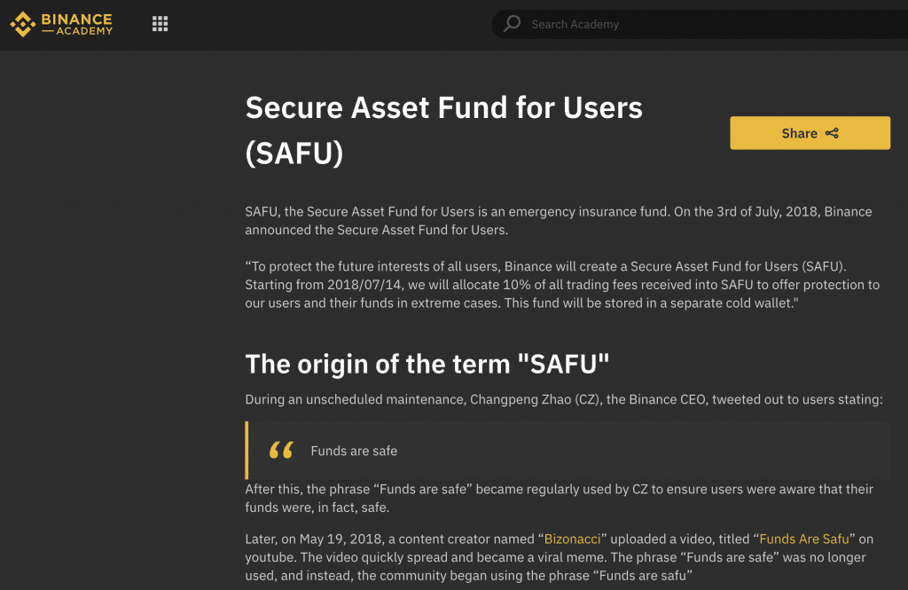 Binance SAFU (fund) screenshot