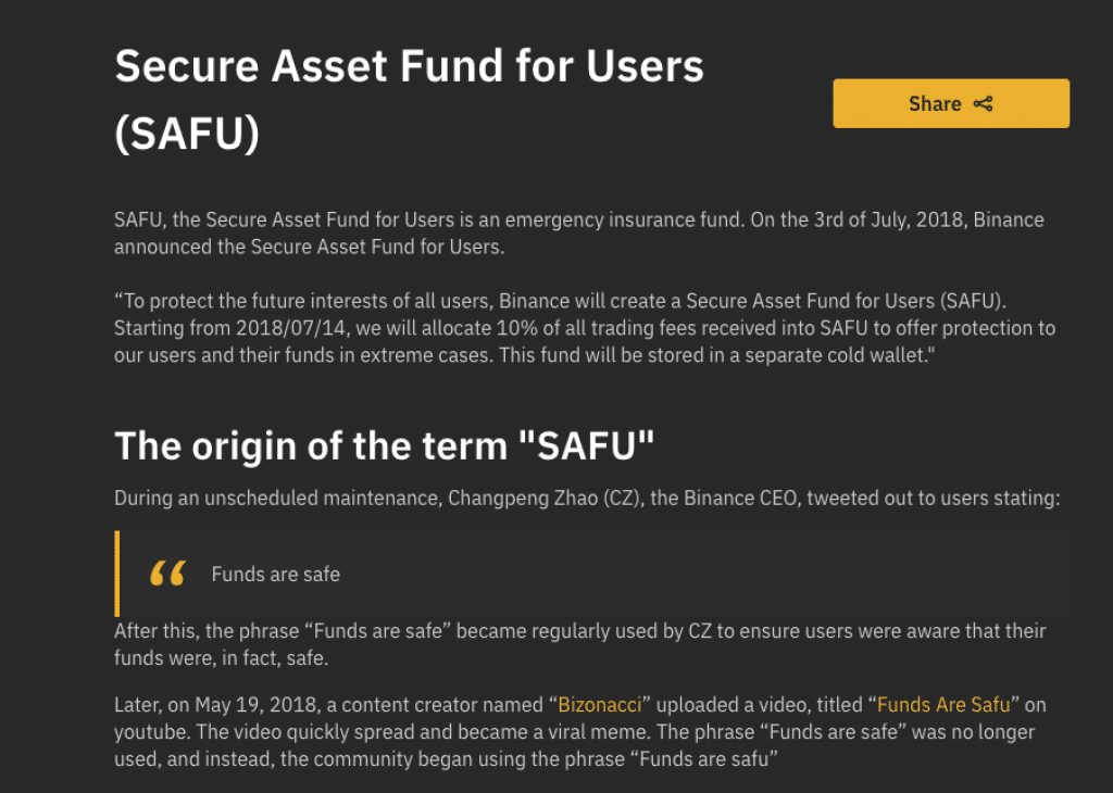 Binance's SAFU (user reimbursement fund)