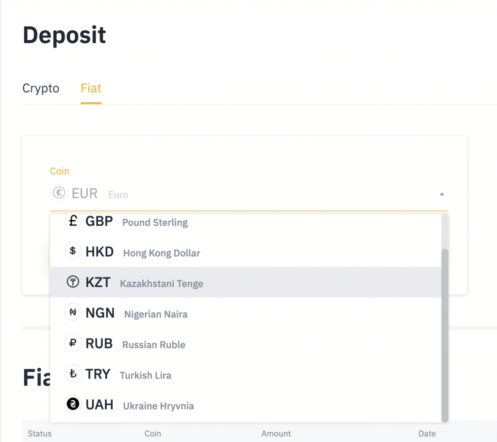 Binance fiat deposits