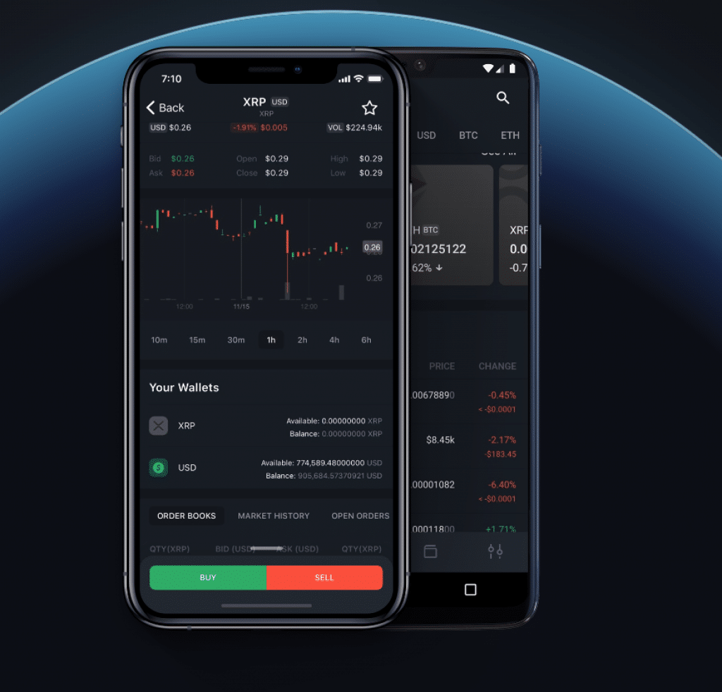 Bittrex app for iOS and Android