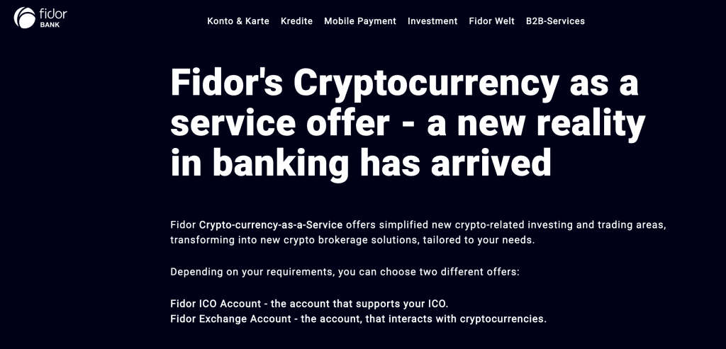Fidor's Crypto-currency-as-a-Service offering