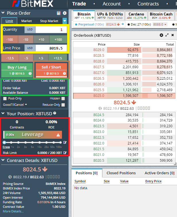 How to create a short order with BitMEX create a short order