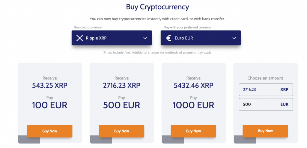 Buy Ripple at Coinmama with a card