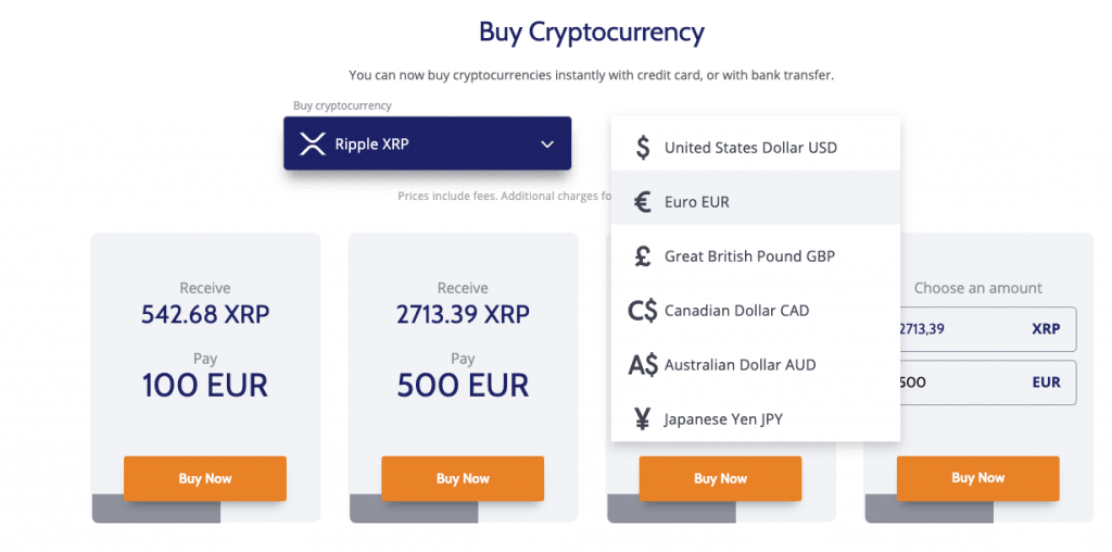Buy XRP at Coinmama payment options (fiat)