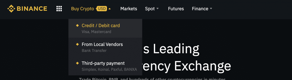 Buy Ripple and other cryptocurrencies with a card at Binance