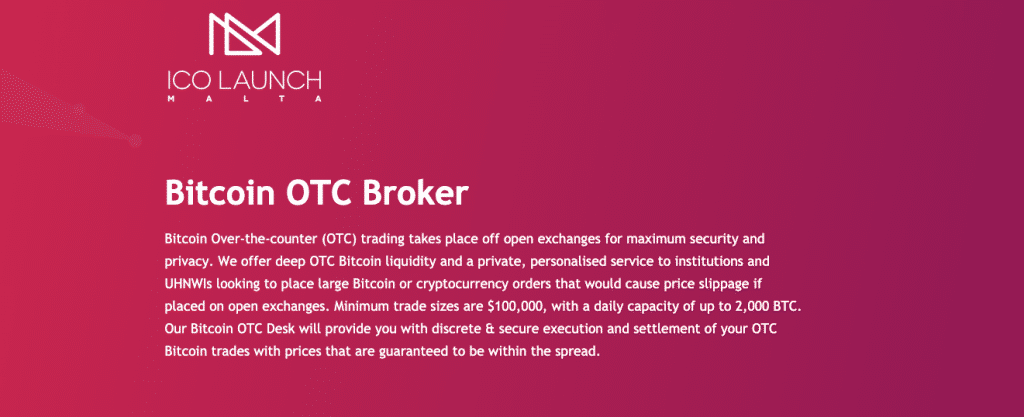 ICO Malta a leading cryptocurrency service provider such as ICO platform and Bitcoin OTC broker