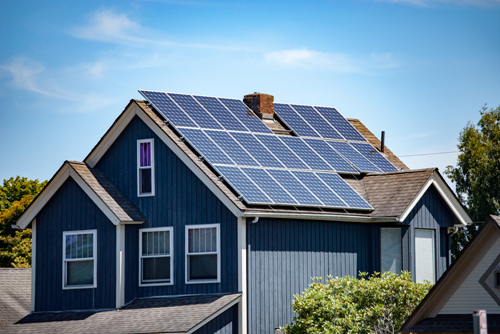Solar panels on the roof of a home