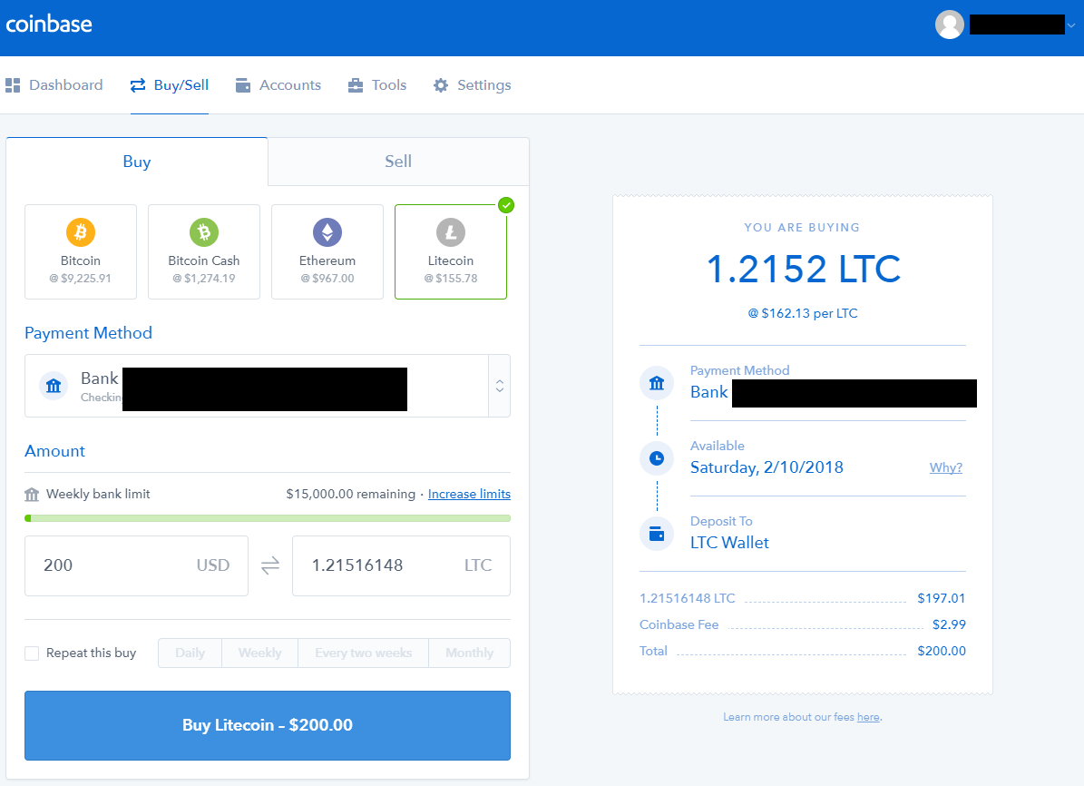 Buy Litecoin with Bank Account on Coinbase