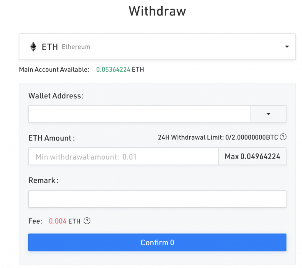 KuCoin's withdrawal fee for ETH - 0.004ETH